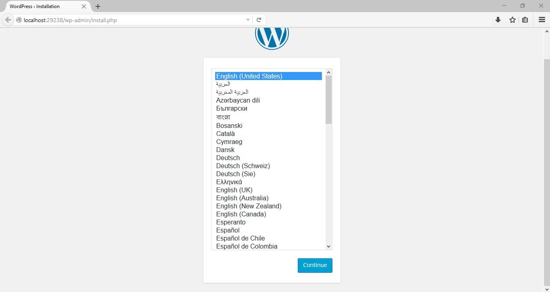 WordPress installation on Windows 10 step 1 localhost